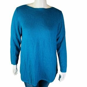 Karen Scott Curved Hem Tunic Teal Size 1X Speckle